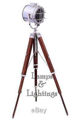 Vintage Industrial DESIGNER Chrome Nautical Search light Tripod Floor Lamp Home