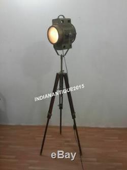Vintage Industrial Designer Antique Brass Spot Light Floor Lamp Tripod Stand
