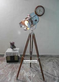 Vintage Industrial Designer Chrome Nautical Spot Light Tripod Floor Lamp Decorat