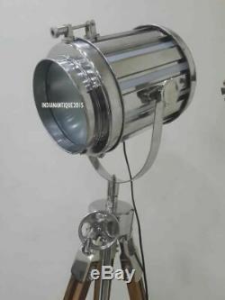 Vintage Industrial Designer Nautical Spotlight Floor Lamp Tripod Stand