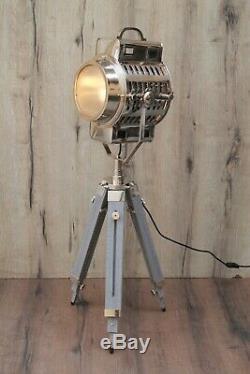 Vintage Industrial Grey Chrome Tripod Hollywood Series Floor Lamp Home Dec