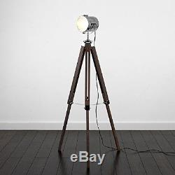 Vintage Industrial Photography Film Studio Adjustable Wooden Tripod Floor Lamp