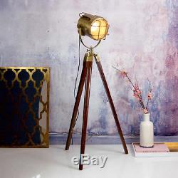 Vintage Industrial Stainless Wooden Led Tripod Searchlight Floor Lamp Home Decor