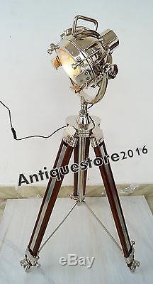 Vintage Industrial Style Movie Spot Light Floor Lamp Standing Wood