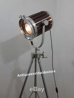 Vintage Industrial Wooden Nautical Spot Light Floor Lamp Tripod Stand Decor