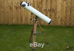 Vintage Japanese 90mm Newtonian reflector telescope ALT/AZ mount, wooden tripod