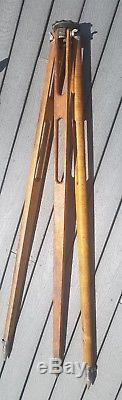 Vintage Keuffel & Esser K & E Surveying Wooden Tripod 3 1/2 x 8
