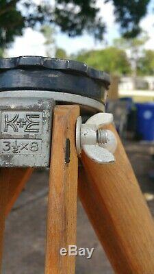 Vintage Keuffel & Esser (K&E) Wooden Transit/Theodolite Tripod 3 1/2 x 8