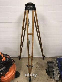 Vintage Keuffel & Esser wooden surveyors tripod industrial lamp stand base part