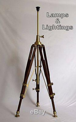 Vintage LED Wooden Tripod Floor Light, Industrial Floor Lamp