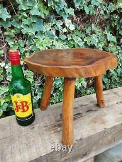 Vintage Live Edge Stool Tripod Walnut Wood Stool Plant Stand Table Real Tree