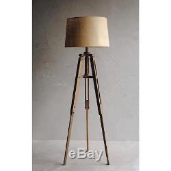 Vintage Look 62.25 Tripod Floor Lamp Mariner Wood Base Drum Tan Fabric Shade