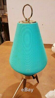 Vintage MID Century Modern Atomic Beehive Lamp Turquoise Aqua Wooden Tripod Legs