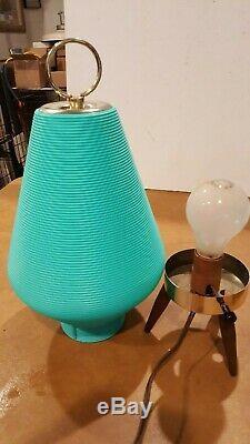 Vintage MID Century Modern Atomic Beehive Lamp Turquoise Teal Wooden Tripod Legs