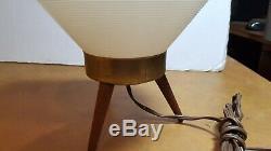 Vintage MID Century Modern Atomic Beehive Lamp White Wooden Tripod Legs