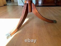 Vintage Mahogany Dining Table Tripod Urn Double Pedestal Base With Brass Toes