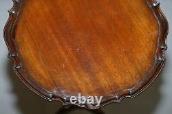Vintage Mahogany Pie Crust Edge Tripod Lamp Side End Wine Table Claw & Ball
