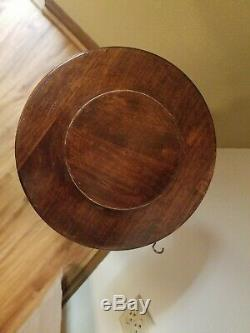 Vintage Mahogany Wood Salad Bowl Set with Tripod Stand, 4 Bowls and Utensils