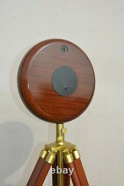 Vintage Marine Wooden Wall & Floor Clock with Tripod Stand Home Decor