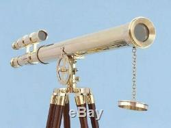 Vintage Maritime Shiny Brass Telescope Double Barrel Handmade With Wooden Tripod