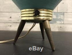 Vintage Mid Century Beehive Lamp Danish Modern Retro 1950s Era Tripod Wood Legs