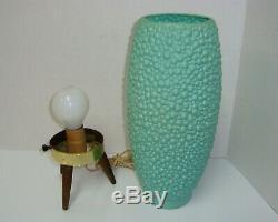 Vintage Mid Century Modern Atomic Beehive Bump Lamp Turquoise Wooden Tripod