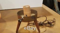 Vintage Mid Century Modern Atomic Beehive Lamp Orange Wooden Tripod Legs