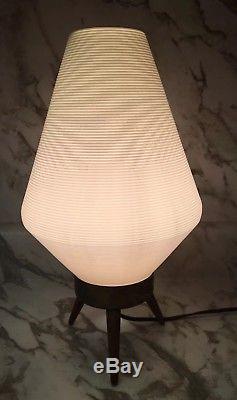 Vintage Mid Century Modern Atomic Beehive Lamp White/Cream Wooden Tripod Legs