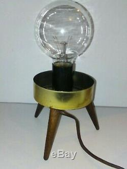 Vintage Mid Century Modern Atomic Beehive or Rocket Lamp White, Wood Tripod Legs