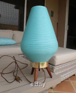 Vintage Mid Century Modern Atomic Turquoise Aqua Beehive Lamp Wooden Tripod Base