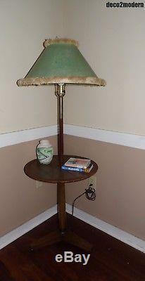 Vintage Mid Century Modern Floor Lamp Table Tripod Base Pole Light