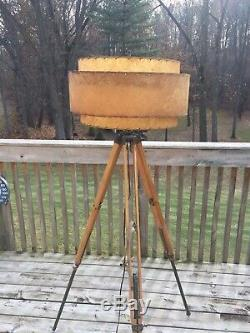 Vintage Mid Century Modern Lamp Shade Wood & Brass Tripod Floor Lamp Industrial