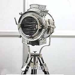 Vintage Modern Collectible Chrome Searchlight Home Black Tripod Lamp