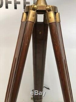 Vintage Nautical Decorative Wood & Brass Telescope with Wooden Tripod