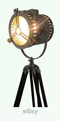 Vintage Nautical Designer Floor Lamp Marine Search Spot Light with Wooden Tripod