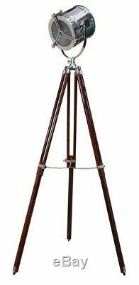 Vintage Nautical Designer Floor Lamp Marine Search/Spot Light with Wooden Tripod