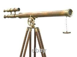 Vintage Nautical Floor Standing Brass 39 Inch Telescope With Wooden Tripod Stand