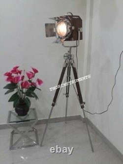Vintage Nautical Marine Spot Light Brown Tripod Stand Floor Lamp Home Decor