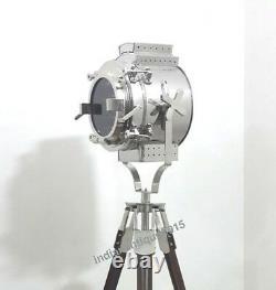 Vintage Nautical Spot Searchlight Brown Wood Floor Tripod Lamp