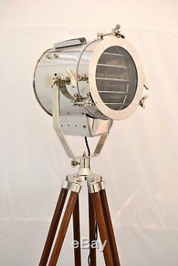 Vintage Nautical Spotlight Floor Wooden Adjustable Tripod Marine Searchlight