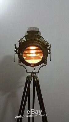 Vintage Nautical Spotlight Nautical Floor Lamp Wooden Tripod Home Decore
