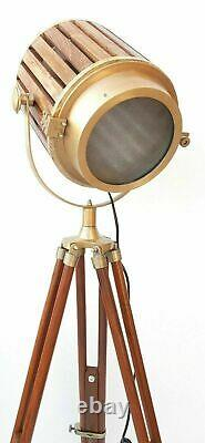 Vintage Nautical Style Room Decor Floor lamp Tripod searchlight Wooden Spotlight