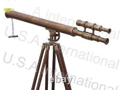 Vintage Nautical Telescope With Tripod Stand Watching Brass Spyglass Item
