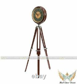 Vintage Nautical Wooden Clock On Adjustable Tripod Stand Home Office Decor Item