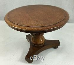 Vintage Oak Tilt Top Miniature Tripod Table. 20cm In Diameter. 25cm In Height