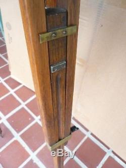 Vintage Oak Wooden Surveyors Adjustable Tripod Lamp Base Repurpose Antique Nice