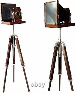 Vintage Old Navy Brown Wooden Camera on Brown Wooden tripod For Home Decor Gifts