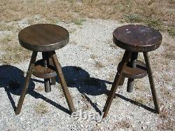 Vintage Pair Industrial Solid Wood Tripod Rotating Adjustable Drafting Stools