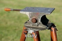 Vintage Professional Cinema Camera Wood Tripod Antique Stand Swivel Tilt Head