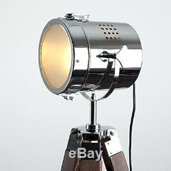 Vintage Retro Floor Lamp Light Industrial Style Photography Tripod Chrome Wooden